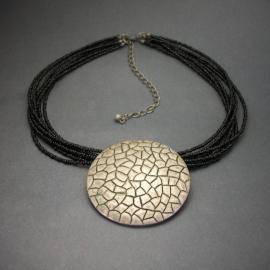 brutalist silver and black multistrand necklace