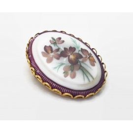 Vintage Painted Purple Floral White Glass Brooch