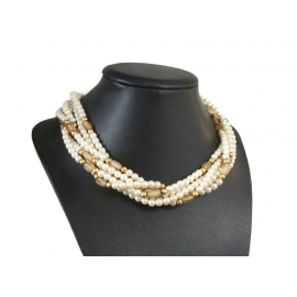 Vintage Multi-Strand 5mm Faux Pearl Choker Collarbone Necklace
