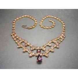 Vintage Purple Rhinestone Gold Choker Necklace