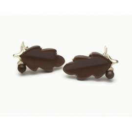 Brown thermoset oak leaf and acorn clip on earrings