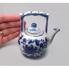 "Miniature Blue & White Porcelain Teapot 3 7/8"" tall"