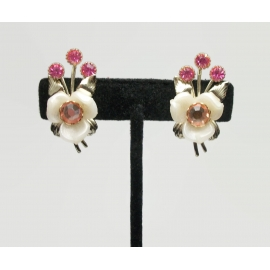 vintage white celluloid floral clip on earrings with pink rhinestones
