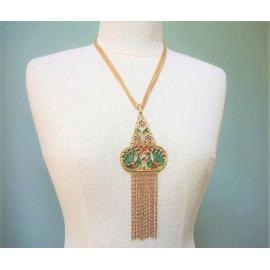 Vintage Crown Trifari plique-a-jour necklace with peacock motif