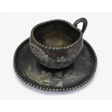 Antique James W Tufts Quadruple Silver Plate Tea Cup and Saucer Teacup Set Etched Engraved Floral Design Late 1800s Early 1900s Tarnished