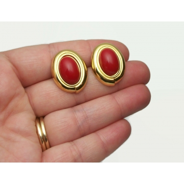 Vintage Monet Gold and Red Cabochon Oval Button Earrings for Pierced Ears Surgical Steel Posts