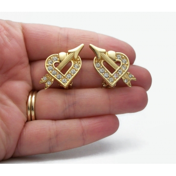 Vintage Signed Swarovski Swan Gold Tone Heart and Cupid's Arrow Clip on Earrings with Clear Swarovski Crystal Rhinestones