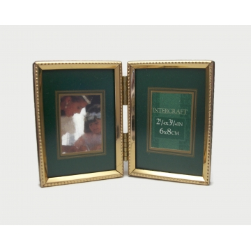 Vintage Double Bi-Fold 3x2 Picture Frame Tabletop 2x3 Picture Frame for Two Wallet Size 2 x 3 Photos Gold Tone Metal