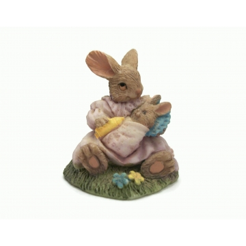 Bunny Rabbit and Baby Figurine Miniature Collectible Anthropomorphized Animals Pink Dress