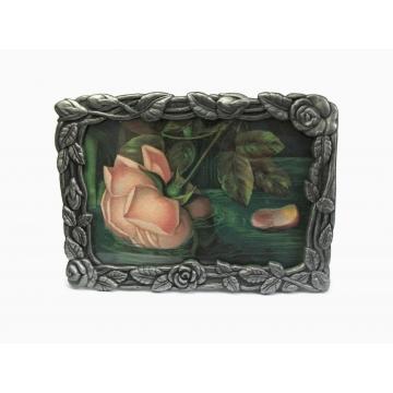 """Vintage Pewter Metal Floral Picture Frame Easel Back Tabletop 4"""" x 5 3/4"""" Roses Motif"""