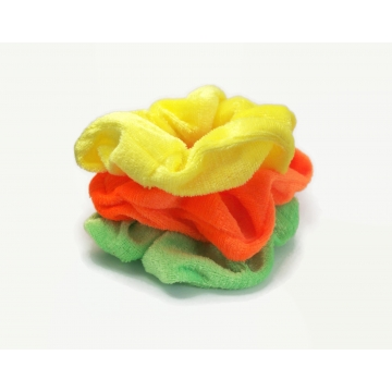 Velvet Hair Scrunchy Set of Three Scrunchies Summer Citrus Colors Neon Orange Lemon Yellow Lime Green