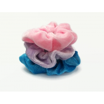 Velvet Hair Scrunchy Set of Three Scrunchies Summer Pink Blue Lavender Purple Ponytail Bun Accessories