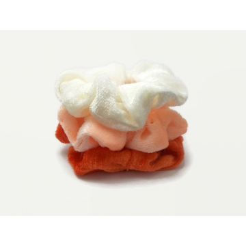 Velvet Hair Scrunchy Set of Three Scrunchies Summer Creamsicle Pack White Peach Orange
