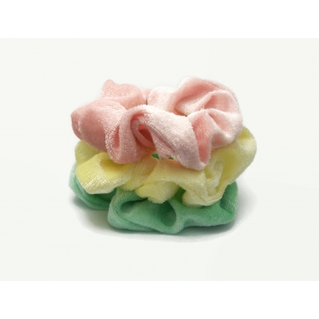 Velvet Hair Scrunchy Set of Three Scrunchies Summer Pastel Pack Pink Green Yellow