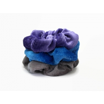 Velvet Hair Scrunchie Set of Three Scrunchies Blue Purple Warm Gray