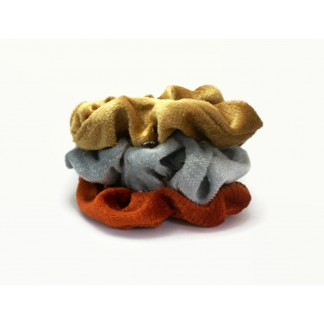 Velvet Hair Scrunchie Set of Three Scrunchies Silver Gold Copper Metallic Color Scrunchy Pack