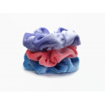 Velvet Hair Scrunchie Set of Three Scrunchies Pink Blue Purple Scrunchy Pack