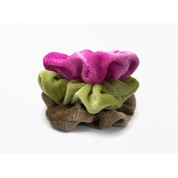 Velvet Hair Scrunchie Set of Three Scrunchies Fuchsia Pink Moss Green Toffee Brown Scrunchy Pack