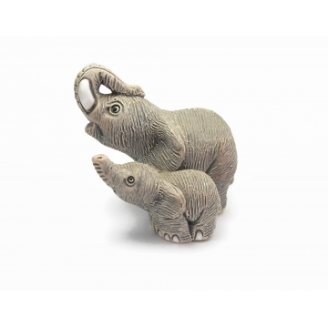 Signed COAD Elephant and Baby Clay Figurine Made in Peru Miniature Animal