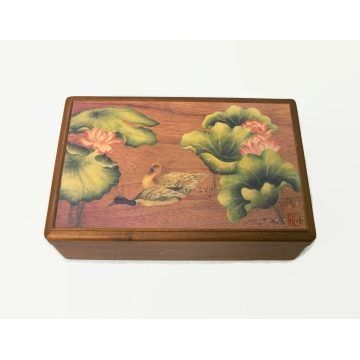 Vintage Wood Box with Red Velvet Lining and Asian Scene of Ducks Lilypads and Water Lilies Lotus Flowers