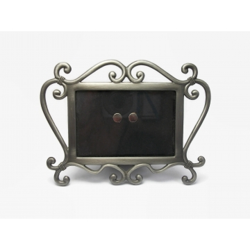 """Vintage Pewter Picture Frame for 3""""x2"""" Photo Wallet Size Tabletop Easel Back Frame with Glass Front"""