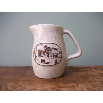 Onion River Pottery Creamer Small Pitcher Brown and White Speckled Ceramic Burlington Vermont Made in USA