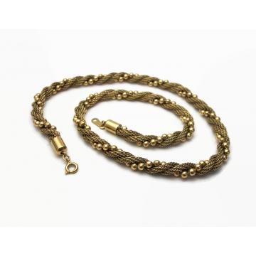 Vintage Avon Gold Mesh Bead Twist Necklace 1980s 1983 17 1/4 inch Gold Chain Signed Jewelry