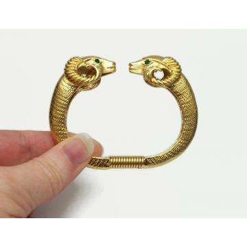 "Kenneth Jay Lane Double Ram Head Gold Clamper Bracelet Cuff Bangle KJL for Avon Size Small 1980s 1987 ""Sophisticated Lady Bracelet"" Rams Heads"