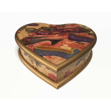 Heart Shaped Wood Box with Floral Victorian Slipper Shoe Motif Wooden Trinket Jewelry Box with Hinged Lid