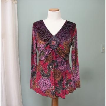 Vintage Carole Little Women's Shirt Blouse size M Purple Red Bronze Polyester Spandex Made in Vietnam Medium