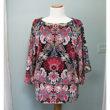 Coco Bianco Women's Blouson Shirt Blouse Floral Kimono Sleeves Size Medium Made in Indonesia Polyester Spandex Blend M Med