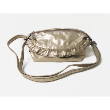 Vintage Rosetti Small Metallic Gold Purse with Ruffle Handbag Shoulder Bag Crossbody Bag Adjustable Strap Party Christmas Purse Zipper Closure