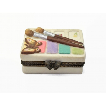 Vintage Marjolein Bastin Tiny Ceramic Trinket Box with Paint Brushes and Butterfly - Gift for Friend