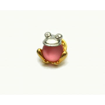 Vintage Pink Moonglow Jelly Belly Frog Pin Tie Tack Small Jewelry
