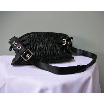 Nuovedive Black Italian Leather Handbag Shoulder Bag Crossbody Bag Adjustable Strap Ruched Soft Genuine Leather Purse Made in Italy