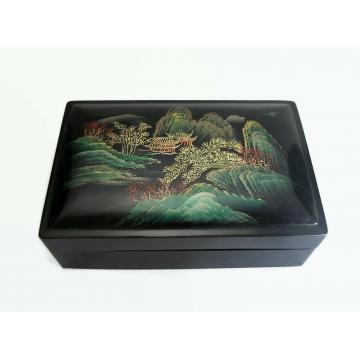 "Vintage Black Lacquer Box with Asian Scene on Lid 3 1/2"" x 5 3/8"" Trinket Jewelry Keepsake Box Home Decor"
