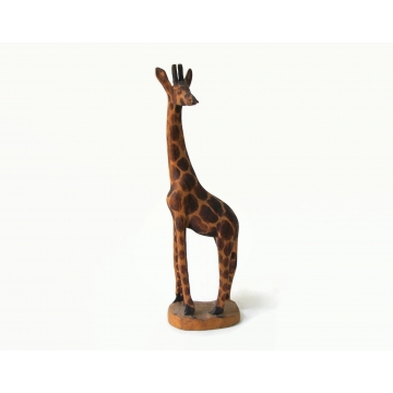 Vintage Hand Carved Wood Giraffe Figurine Statuette Sculpture Made in Africa 8 inches