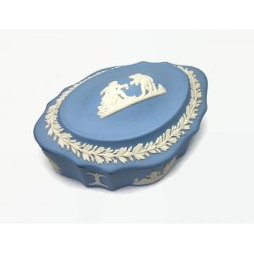 Vintage Blue Wedgewood Jasperware Box Lidded Trinket Box with Cherubs Motif  Made in England Covered Candy Dish