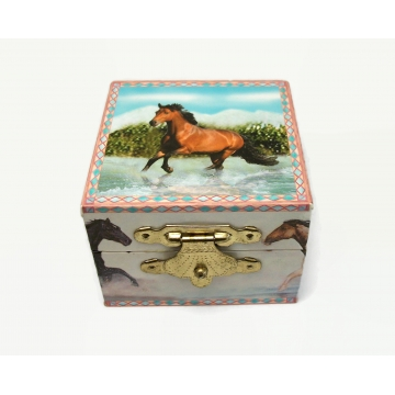 """Horse Themed Ring Box Small Trinket Box with Mirror by Enchantmints Water Run 2006 2 1/4"""" x 2 1/4"""" Wild Horses Gift for Horse Lover Stocking Stuffer Easter Basket Filler"""