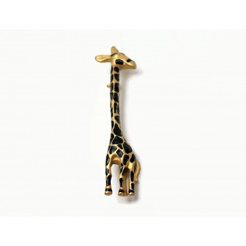 Vintage Giraffe Brooch Pin Gold and Black Enamel Whimsical Cute Animal Jewelry