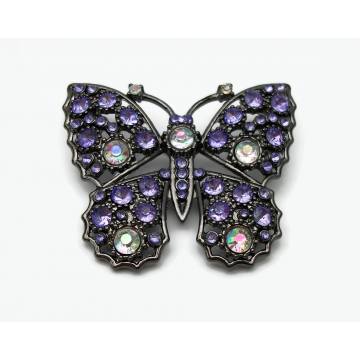 Purple Rhinestone Butterfly Brooch Pin Gunmetal with AB Aurora Borealis Accents