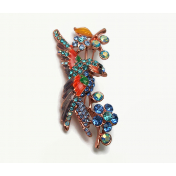 Vintage Crystal Rhinestone Colorful Bird Brooch Lapel Pin Rose Gold or Copper Tropical Bird Bunting Parakeet Parrot