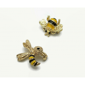 Vintage Gerry's Bee Scatter Pins Gold and Enamel Brooch Set of 2 Honeybees Stinging Bee Signed Jewelry Mid Century