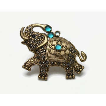 Vintage Genuine Marcasite Elephant Brooch Lapel Pin Gold Signed FAF Fashion Accessories First Elephant Pin