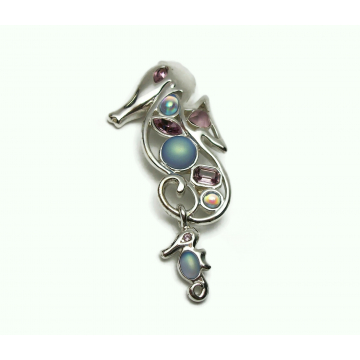 Vintage Monet Seahorse Brooch Pin Silver with Blue and Purple Rhinestones and Baby Seahorse Charm