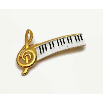 Vintage Treble Clef Brooch Pin with Piano Keys Keyboard Gift for Piano Player Pianist Music Musician