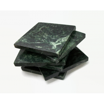 Vintage Green Marble Coaster Set of Six 6 Square Coasters with Cork Back 3.75″ and 3/8″ thick