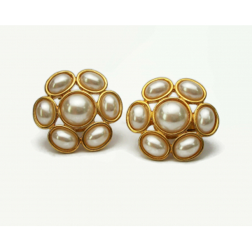 Vintage Napier Pearl Cabochon Clip on Earrings Gold with Adjustable Screws Floral Flower Shaped