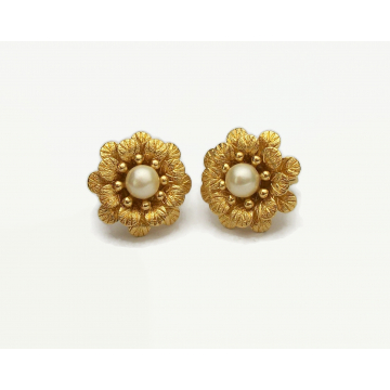Vintage Crown Trifari Floral Clip on Earrings Gold with Pearl Accents Trifari Jewelry