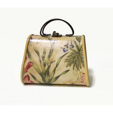 Vintage Decoupage Wood Purse Handbag Floral Design Pear Shaped Brass Hardware Novelty Purse Shaped Box Hard Sided